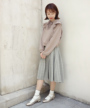 model:158cm (brown×white着用)